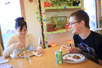Residents eat lunch at Hopewell Therapeutic Farm